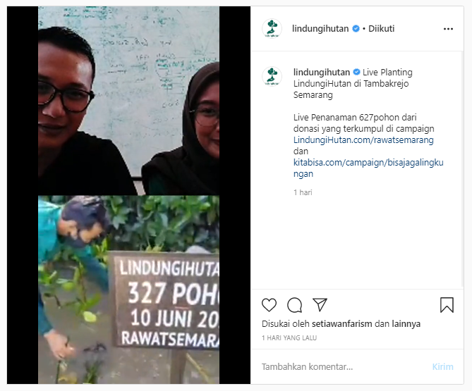 Live Planting LindungiHutan saat Penanaman di Tambakrejo